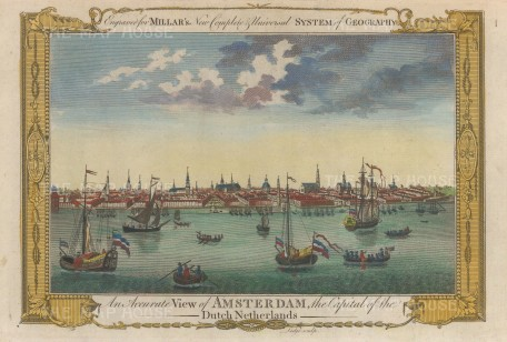 "Millar: Amsterdam. 1782. A hand coloured original antique copper engraving. 12"" x 8"". [NETHp196]"