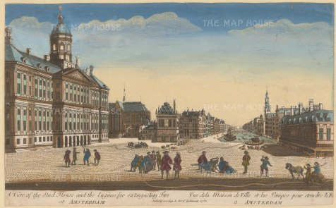 "Vue D'Optique: Amsterdam. 1752. An original hand coloured antique copper engraving. 15"" x 9"". [NETHp91]"