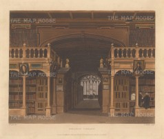 "Ackermann: Bodleian Library, Oxford. 1814. An original colour antique aquatint. 11"" x 8"". [OXONp360]"