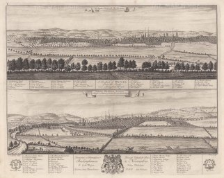 Double Prospect: Panoramas of Oxford from the south near Abingdon Road and from the east near London Road. With key in English and Latin.