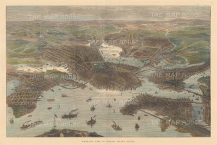 "Illustrated London News: Boston, Massachusetts. 1872. A hand coloured original antique wood engraving. 20"" x 14"". [USAp4973]"