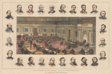 View of the chamber in session with twenty four vignette portraits of members.