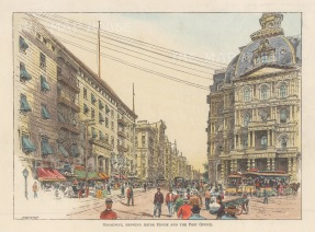 Broadway and Vesey Street: View with Astor  House and the Post Office.