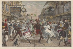 Port of Spain: Contemporaneous depiction of the carnival with the central figure of the devil. After renowned quick sketch artist and war correspondent Melton Prior.