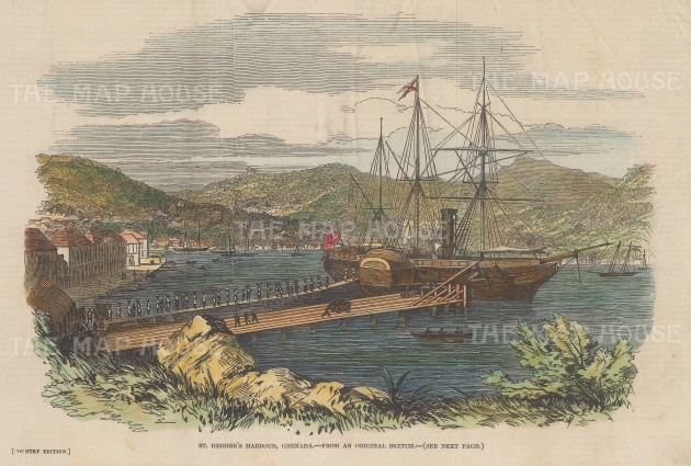"""Illustrated London News: St George's Harbour, Grenada. 1846. A hand coloured original antique wood engraving. 9"""" x 6"""". [WINDp1236]"""