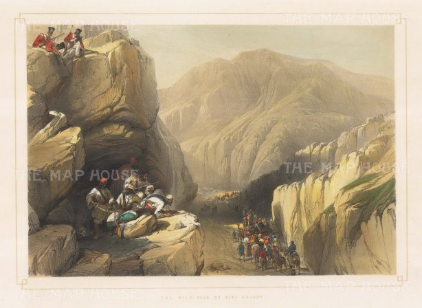 Balochistan: Siri Kajoor Pass. British soldiers above Baluchis preparing an ambush. First Anglo-Afghanistan War.