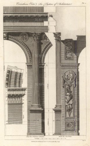 Corinthian Order: Anterior view of portico and pedestal, lateral view of a portico and detail of an impost and architrave.