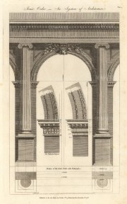 Ionic Order: Anterior view of a portico with pedestals, and details of an impost and Palladian impost.