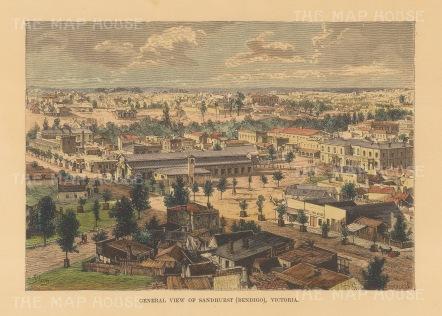 Reclus: Sandhurst (Bendifo). 1894. A hand coloured original antique wood engraving. [AUSp736]