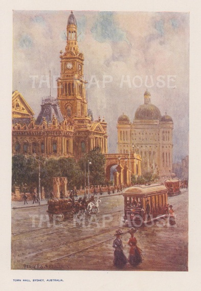 Town Hall: With trams and carriages. After Percy Spence.