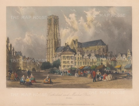 "Allom: Mechlin. 1840. A hand coloured original antique steel engraving. 7"" x 4"". [BELp274]"