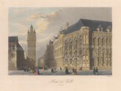 "Allom: Ghent. 1840. A hand coloured original antique steel engraving. 7"" x 4"". [BELp275]"
