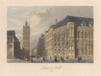 """Allom: Town Hall, Ghent. 1840. A hand coloured original antique steel engraving. 7"""" x 4"""". [BELp275]"""