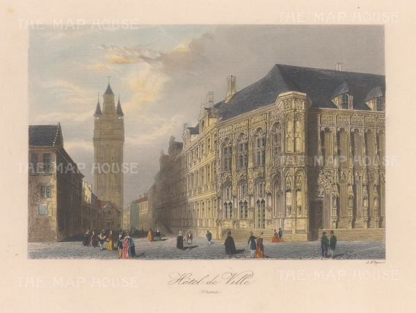 "Allom: Ghent. 1840. A hand coloured original antique steel engraving. 7"" x 4"". [BELp275]"