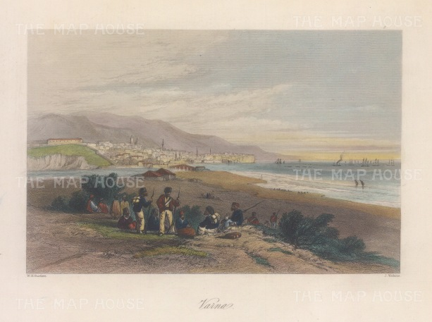 "Bartlett: Varna, Bulgaria. 1838. A hand coloured original antique steel engraving. 7"" x 5"". [CEUp535]"