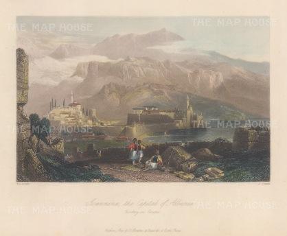 "Bartlett: Ioannina, Albania. 1838. A hand coloured original antique steel engraving. 7"" x 5"". [CEUp536]"