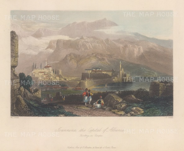 "Bartlett: Ioannina, Albania. 1838. A hand coloured original antique steel engraving. 7"" x 5"". [CEUp536]"