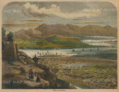 "Illustrated London News: Shanghai. c1880. A hand coloured original antique wood engraving. 9"" x 7"". [CHNp1033]"
