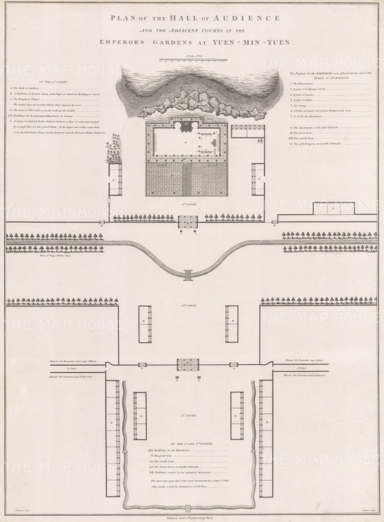 Architectural plan: the Hall of Audience and Emperor's Gardens at Yuen-Min-Yuen, or the Old Summer Palace.