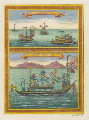 "Bellin: Dragon boat and Sampans. 174. A hand coloured original antique copper engraving. 6"" x 8"". [CHNp1129]"