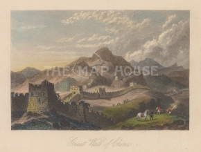"Fullarton: Great Wall of China. 1856. A hand coloured original antique steel engraving. 5"" x 4"". [CHNp1150]"