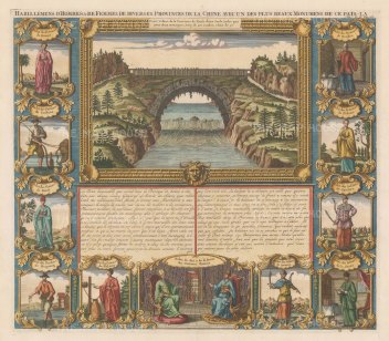 Xensi: View of an arch of the Great Wall over the Yellow river. With 11 portraits of men and women in traditional dress. Text in French.
