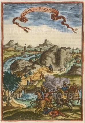 "Mallet: Peking. 1683. A hand coloured original antique copper engraving. 4"" x 6"". [CHNp997]"