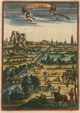 "Mallet: Nanking. 1683. A hand coloured original antique copper engraving. 4"" x 6"". [CHNp998]"