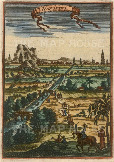 "Mallet: Nanjing. 1683. A hand coloured original antique copper engraving. 4"" x 6"". [CHNp998]"