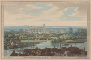 Eton: View of the school from a distance, with the river in the foreground. After Joseph Farington.