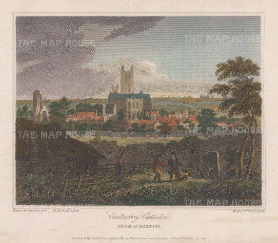 "Storer: Canterbury Cathedral. 1816. A hand coloured original antique steel engraving. 8"" x 6"". [ENGp342]"