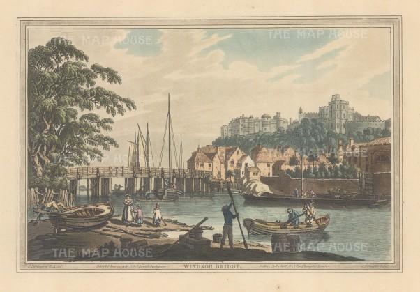 Windsor: View of Windsor bridge looking towards the castle. After Joseph Farington.