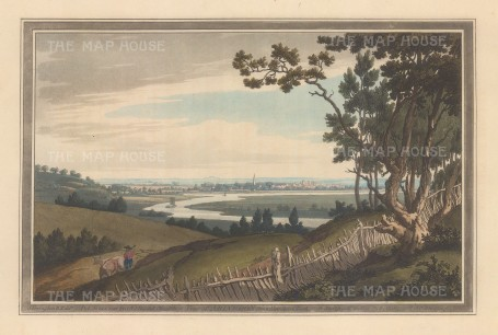 Abingdon-on-Thames, Oxfordshire: View of the town and Thames from Nuneham Park. After John Farington.