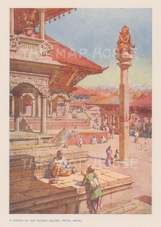 Patan. Corner of Duirbar Square. After Percy Brown.