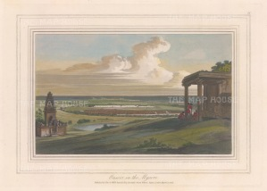 Mysore: View of the distant fort with the temple of Siva as Cudanathesvara on the left, and a choultry on the right where the Daniell's entourage rests.