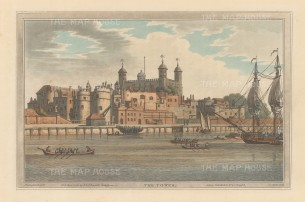 Tower of London: View from the River Thames. After Joseph Farington.