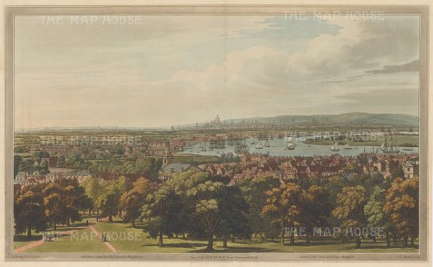 London from Greenwich Park: Spectacular view across the Thames towards St. Paul's. After Joseph Farington.