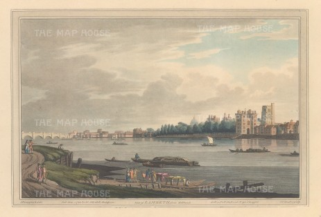 Lambeth: View from Lambeth of Lambeth Palace and Westminster Bridge. After Joesph Farington.