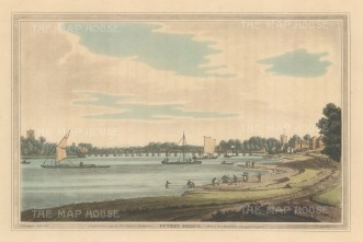 Putney Bridge: View towards the bridge with St Mary's on the right and All Saints on the left. After Joesph Farington.