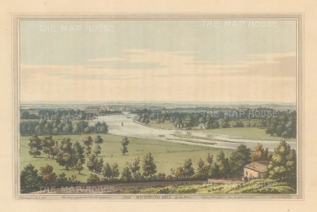 Richmond: View up the Thames from Richmond Hill. After Joesph Farington.