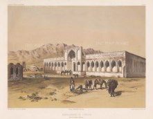 Tsensen: A caravan resting at an Inn on the route from Tehran to Isfahan.