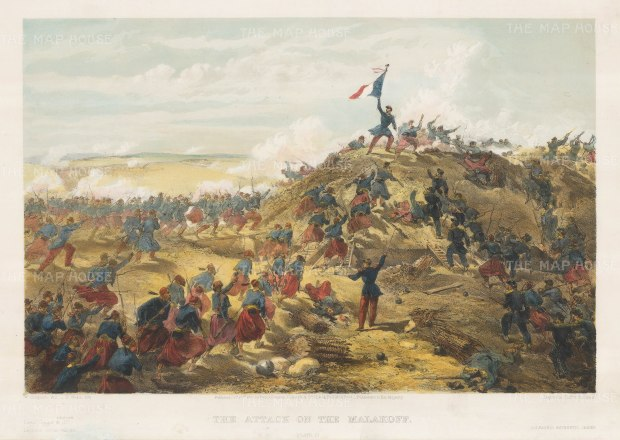 Attack on the Malakoff: The French storming the Russian Redoubt, which effectively ended the 11 month siege of Sebastopol.