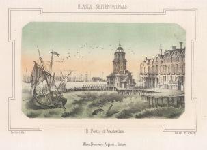 "Pagnoni: Amsterdam. c183. An original tinted antique lithograph. 6"" x 4"". [NETHp202]"