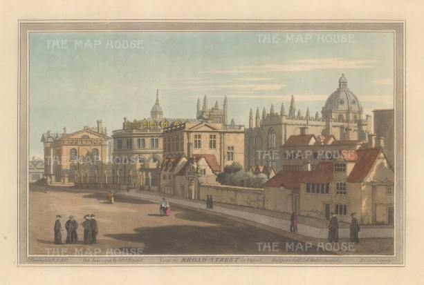 Broad Street: Looking towards the Clarendon building and Sheldonian Theatre. After John Farington.