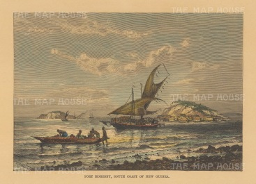 "Reclus: Port Moresby, New Guinea. 1894. A hand coloured original antique wood engraving. 8"" x 6"". [PLYp257]"