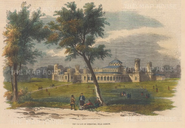 """Illustrated Times: Petrovski Palace, Moscow. 1856. A hand coloured original antique wood engraving. 6"""" x 9"""". [RUSp735]"""