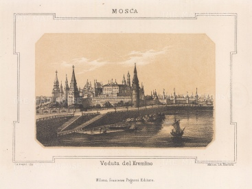 "Pagnoni: The Kremlin, Moscow. c1850. An original colour antique lithograph. 8"" x 6"". [RUSp750]"