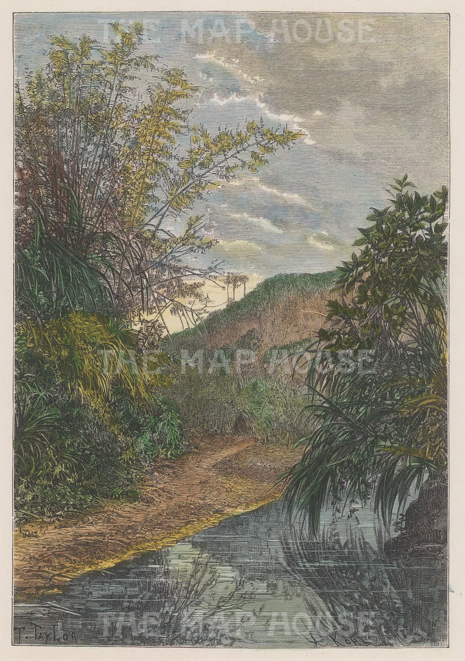 "Reclus: Luyeh, Taiwan. 1894. A hand coloured original antique wood engraving. 6"" x 8"". [SEASp1687]"