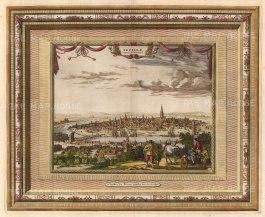 "Van der Aa: Seville. 1700. A hand coloured original antique copper engraving. 17"" x 13"". [SPp1074]"