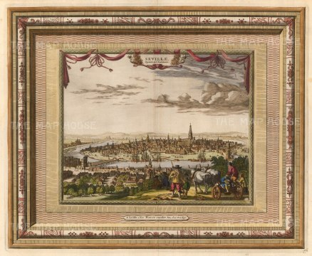 "Van der Aa: Seville. 1700. A hand coloured original antique copper engraving. 17"" x 13"". [SPp1074]"